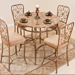 Brown Pretty Wrought Iron Kitchen Table With Round Table Four Chairs And Stylish Rug