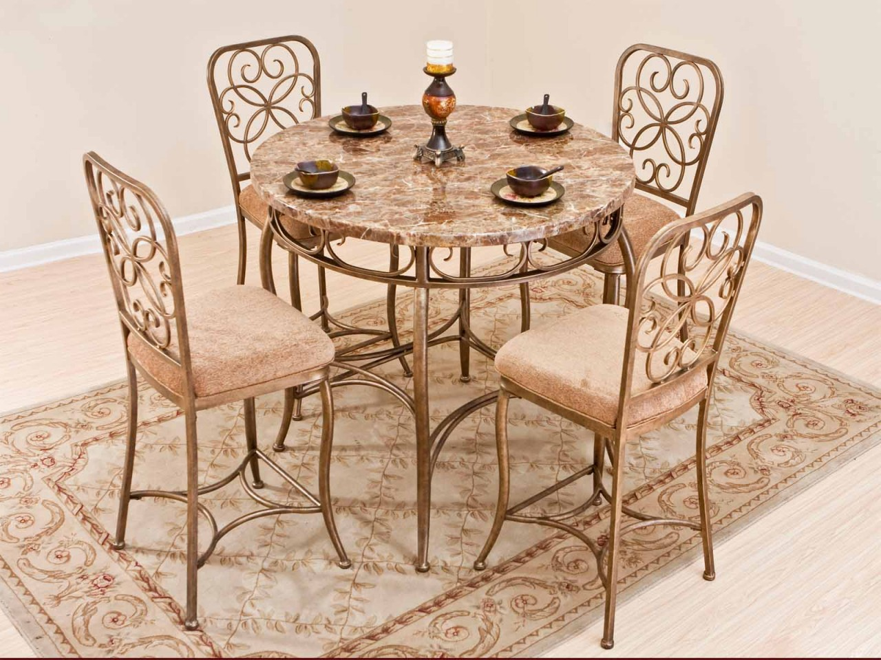ice cream table and chairs set wrought iron powell turino grey - Cream Kitchen Tables