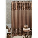 Brown fabric shower curtain idea with square motifs in bottom and up