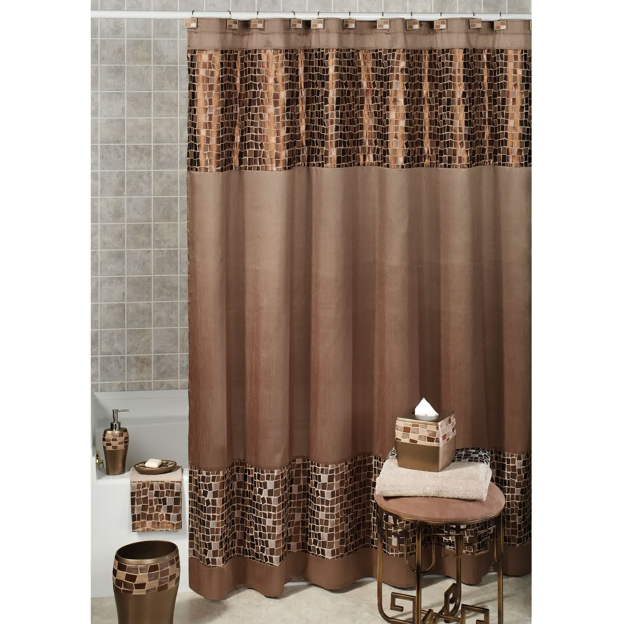 brown fabric shower curtain idea with square motifs in bottom and up - Shower Curtain Design Ideas