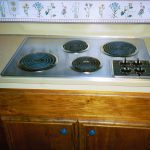 Built In Stove Top On Wooden Cabinet Countertop