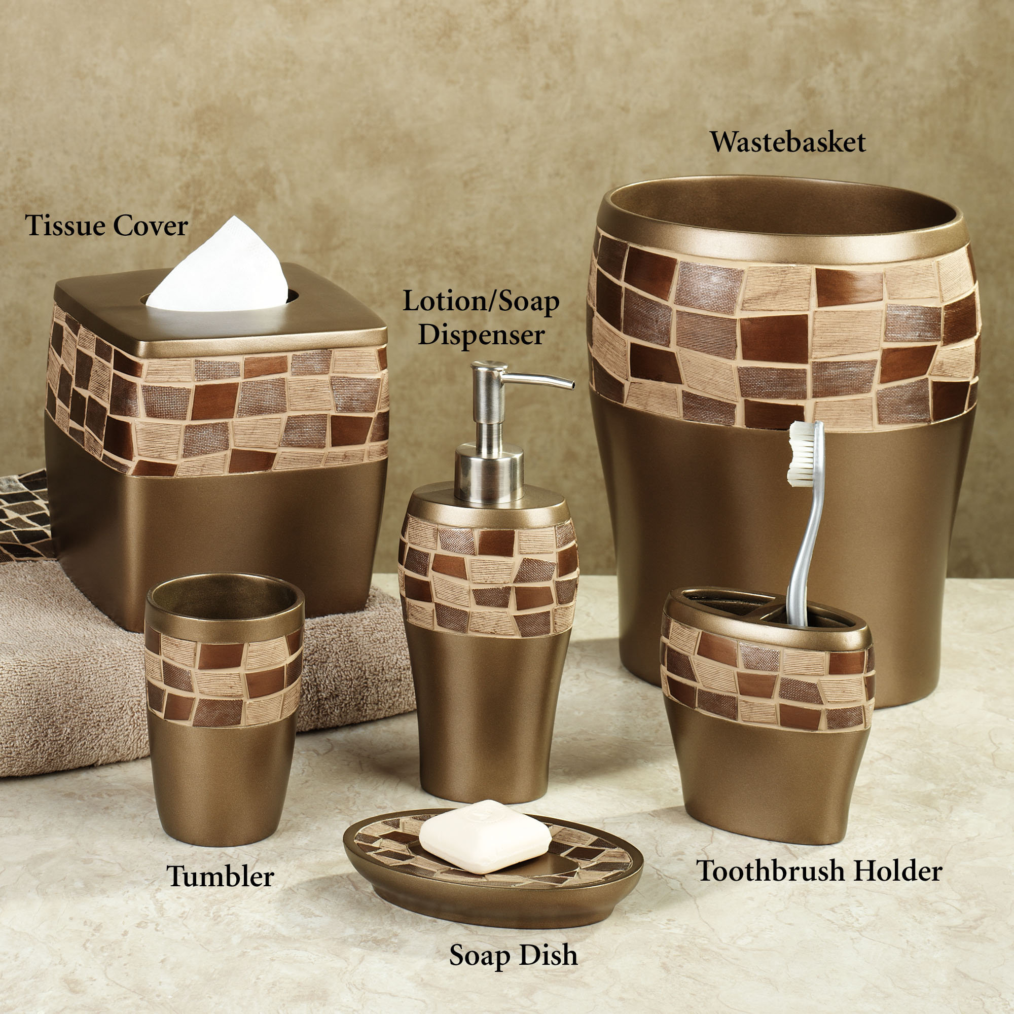 Bath accessories sets ideas homesfeed for Brown and white bathroom accessories