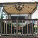 Chandelier Lights For Gazebo With Outdoor Furniture And White Curtains