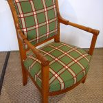 Cherry Wooden Chairs With Arms With Green Square Pattern