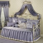 Classic And Luxury Style Of Day Bed Cover With Purple And White Color On Bed And Curtains