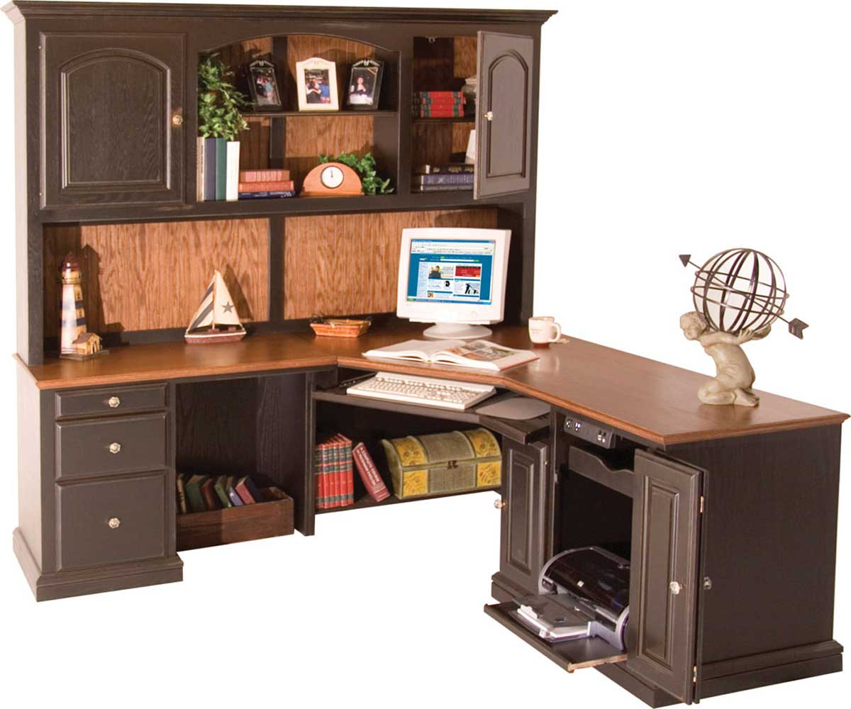 corner desk with shelves design homesfeed. Black Bedroom Furniture Sets. Home Design Ideas