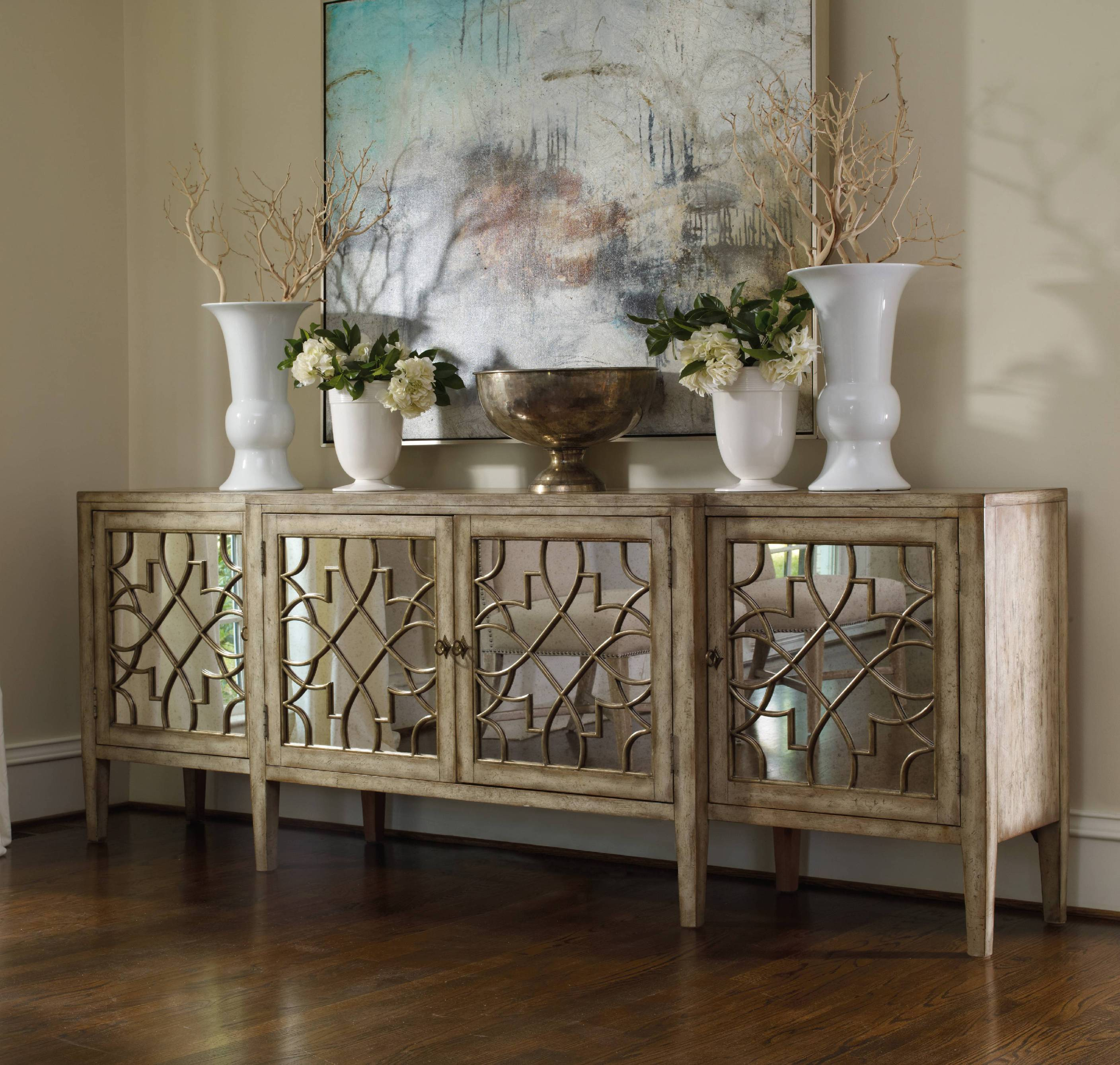 Elegant Classic Mirrored Console Cabinet With Four Main Storage And Decoration