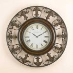 Classic wall clock with crafted iron frame