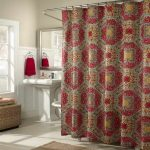 Cloth shower curtain with classic motif free standing sink and faucet nickel framed square mirror a hooker for hanging towel metal curtain rod with ring clips brown bathroom rug