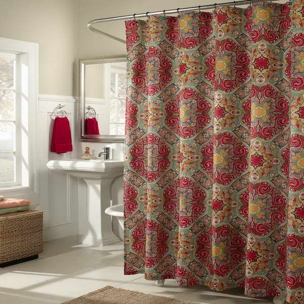 Bon Cloth Shower Curtain With Classic Motif Free Standing Sink And Faucet  Nickel Framed Square Mirror A