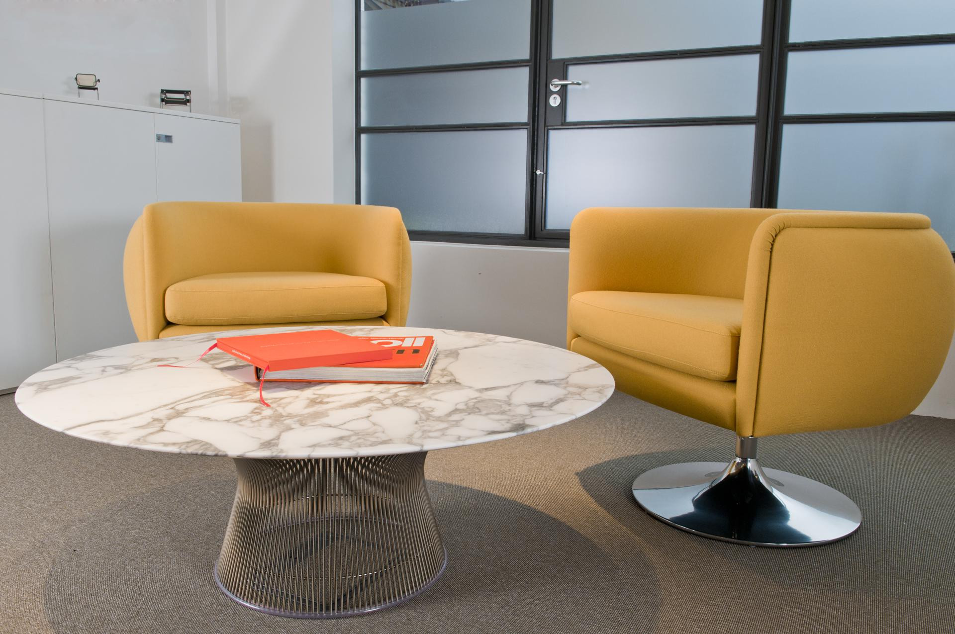 Coffee Table Polished Of Platner Side Table With Yellow Sofas And Grey  Floor With Carpet