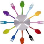 Colorful fancy wall clock idea with spoons and forks shape