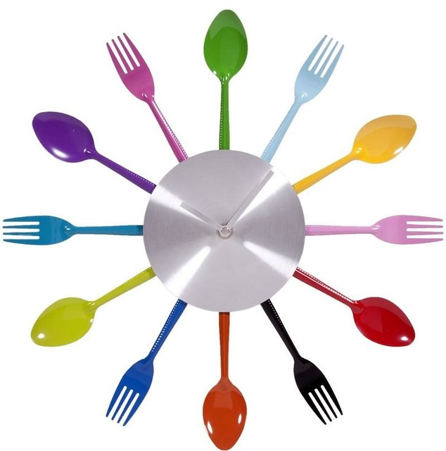 colorful fancy wall clock idea with spoons and forks shape - Decorative Clocks