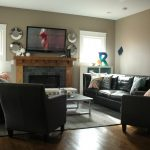 Contemporary Living Room Furniture Arrangement With Dark Furniture Grey Rug And Small Table