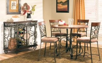 Cool Dinette Set Counter Height With Round Table Stylish Cabinet Four Chairs Awesome Rug In Warm Room
