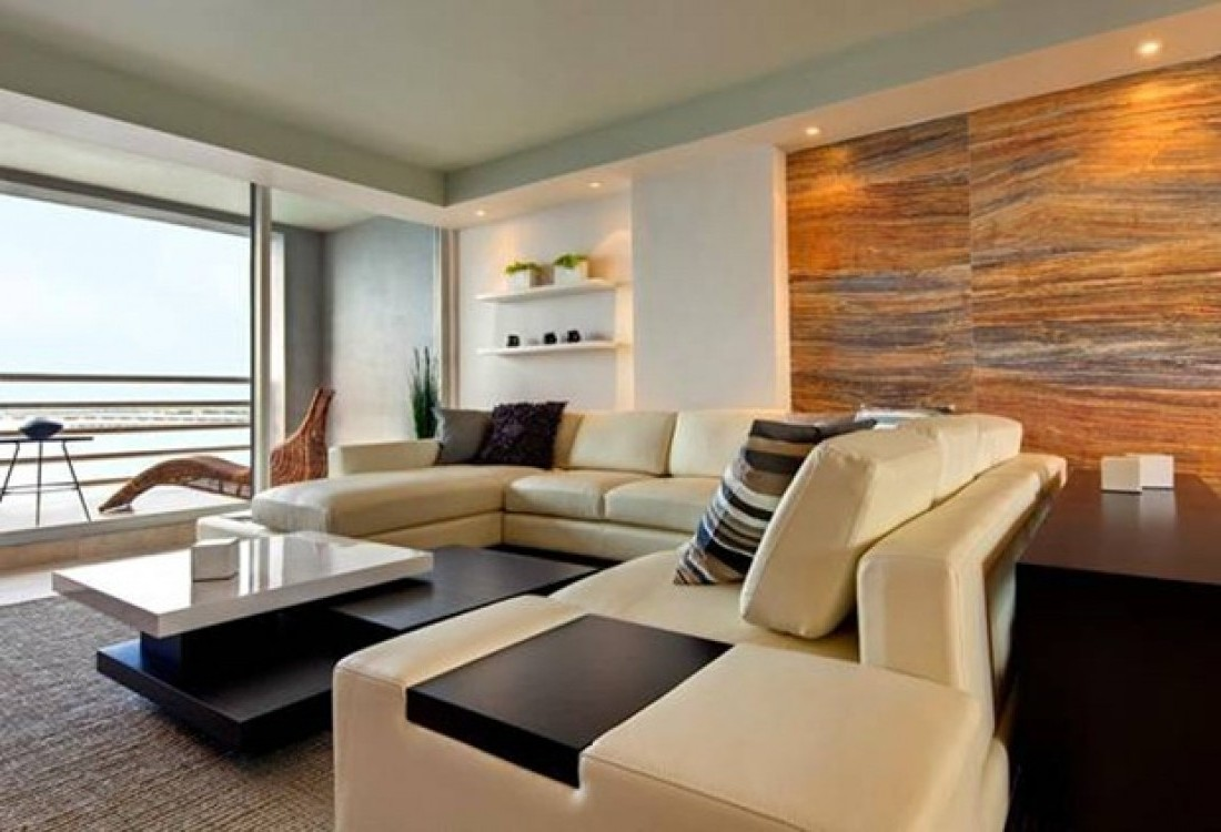 Cool Sectional Sofa In Living Room With Modern Apartment Interior
