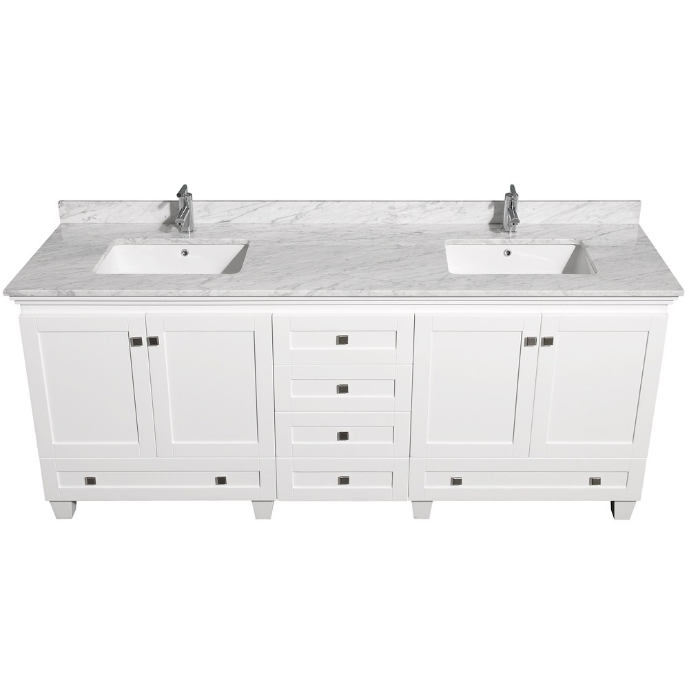 Cool White 80 Inch Bathroom Vanity With Marble On Top