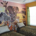 Cool and marvelous safari bedroom decor with safari themed wallpaper zebra bedding for two single beds