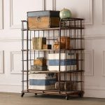 Cool shabby wood and metal bookshelves with wheels
