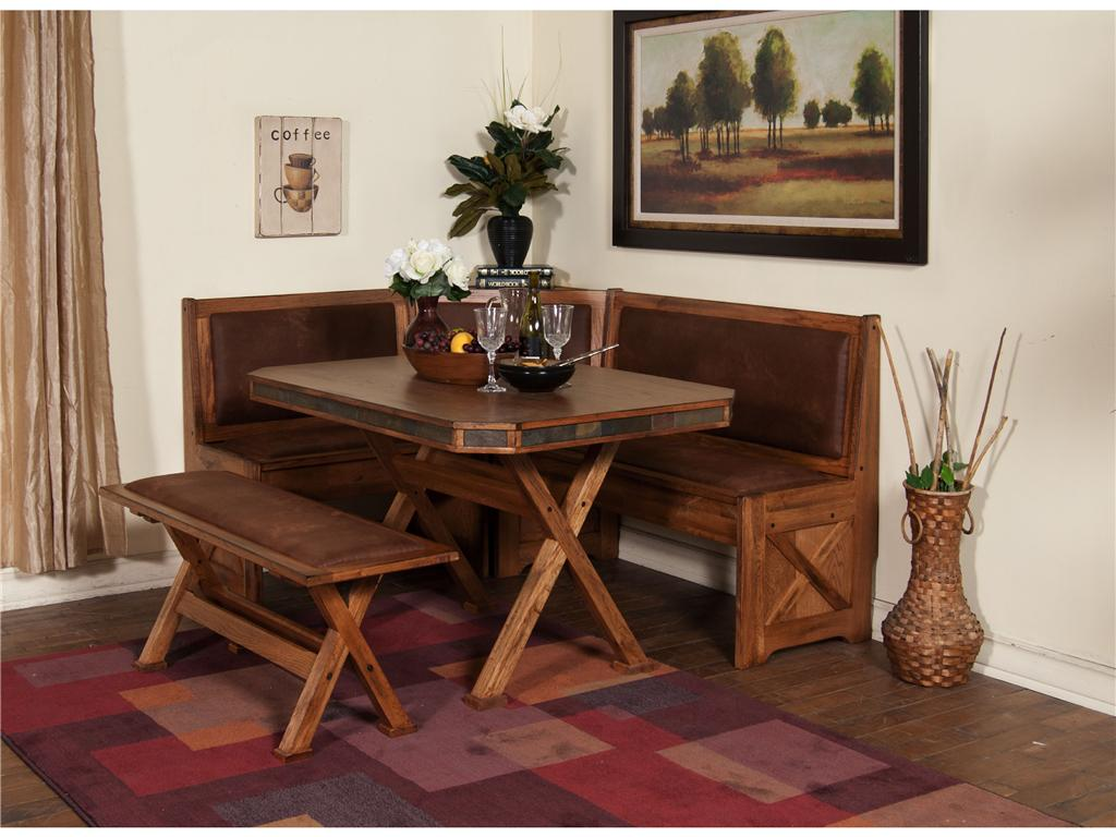 Corner Dining Room Table With Chairs And Bench On Square Pattern Of Rug