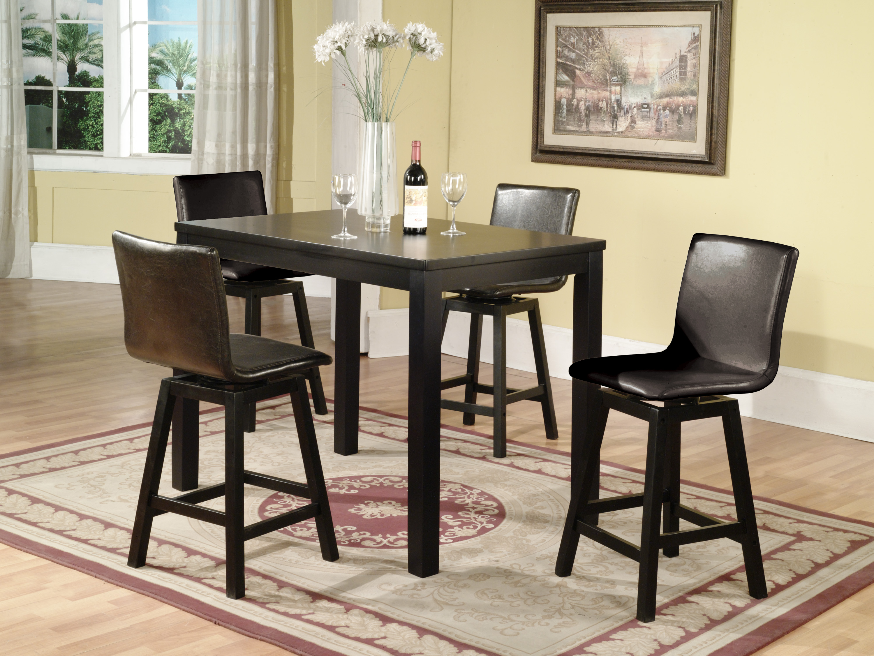 Counter height dinette sets homesfeed for Tall dinner table set