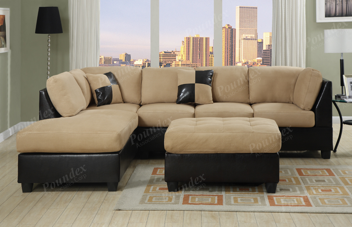 Cream And Dark Brown Color Of 2 Piece Sectional Sofa With Chaise : black microfiber sectional sofa with chaise - Sectionals, Sofas & Couches