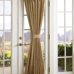 Cream Color Of Door Curtain With Double Sidelight Window