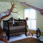 Creative safari bedroom decor design for baby a unit of black coated wood baby crib with crib mattress brown shag bedroom rug some animal stuffs some animal wallpaper