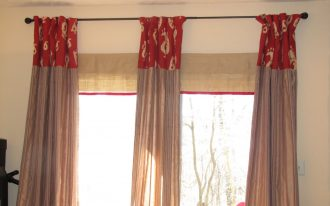 Curtains For Sliding Glass Door With Red And Cream Color Design