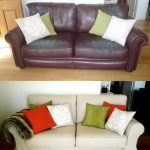 Custom Made Slipcover Of Couches Before After With Colorful Pillows
