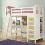 Cute and attractive loft bed IKEA in white which is completed with stairs working desk and chair and also colorful drawers