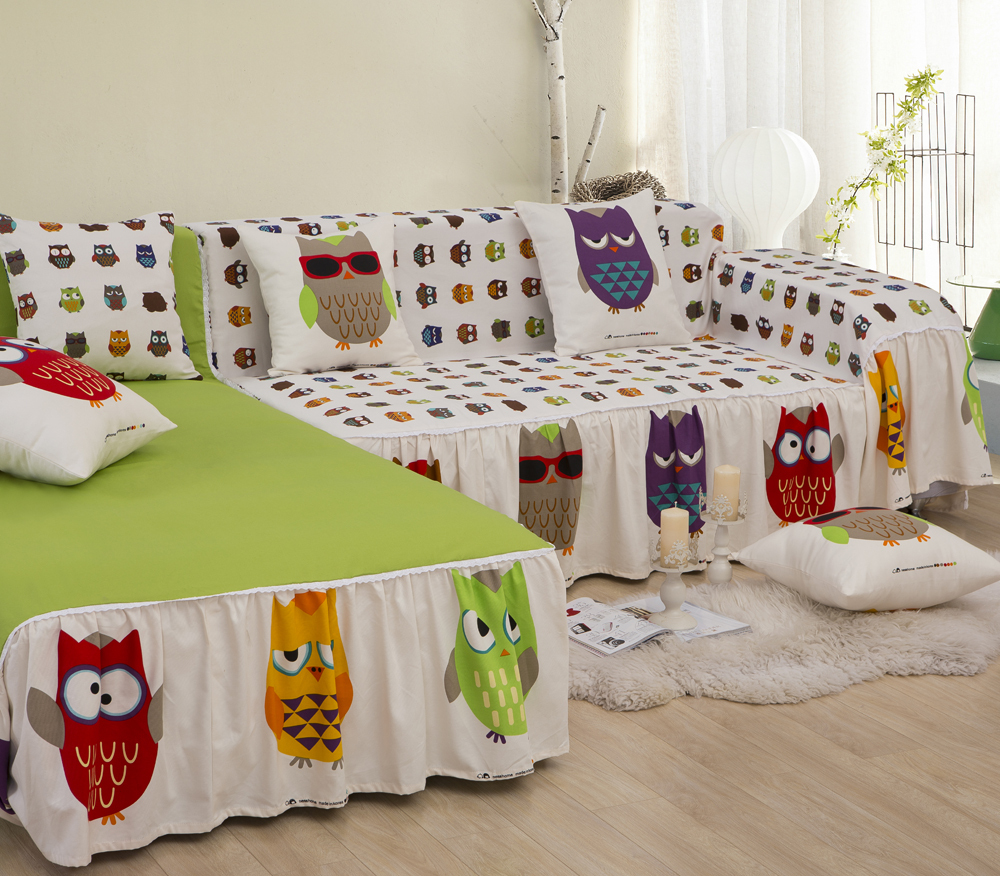 Cute Slipcover For Sectional Sofa With Angry Bird Theme Small White Shag  Rug Some Decorative Pillows