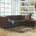 Dark Brown Color Of 2 Piece Sectional Sofa With Chaise And Polcadot Rug