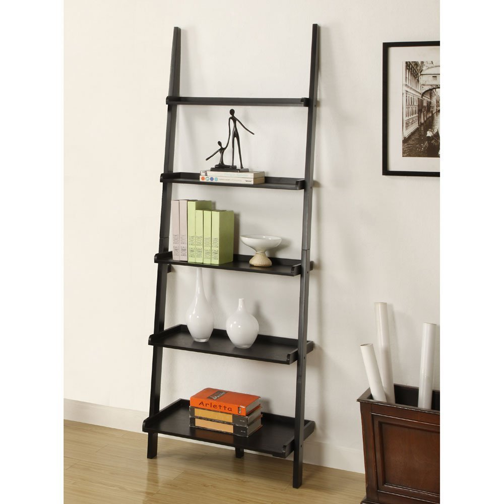 Dark Grey Leaning Ladder Bookshelf Near Box And Frame