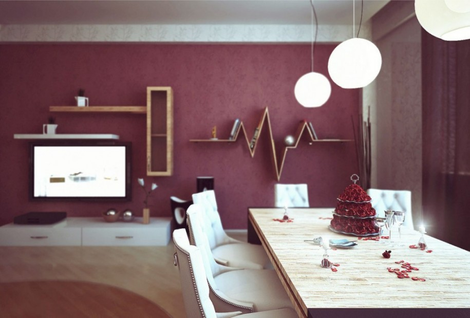 Dark Red Best Color Wall Paint For Dining Room With Wooden Furniture And  Triple Chandelier