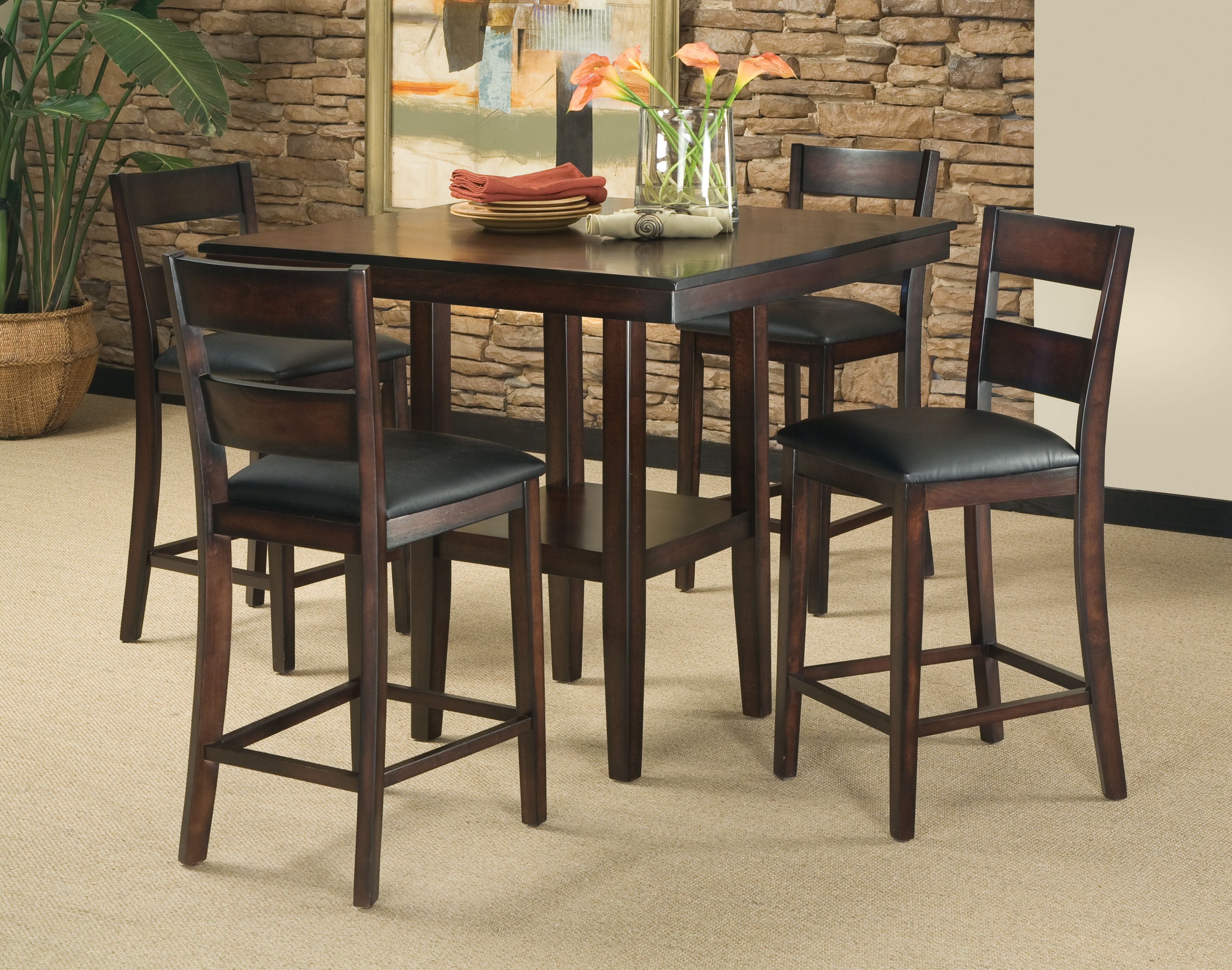 dark wooden counter height dinette table set with chairs in room with rocks design - Bar Height Kitchen Table Sets