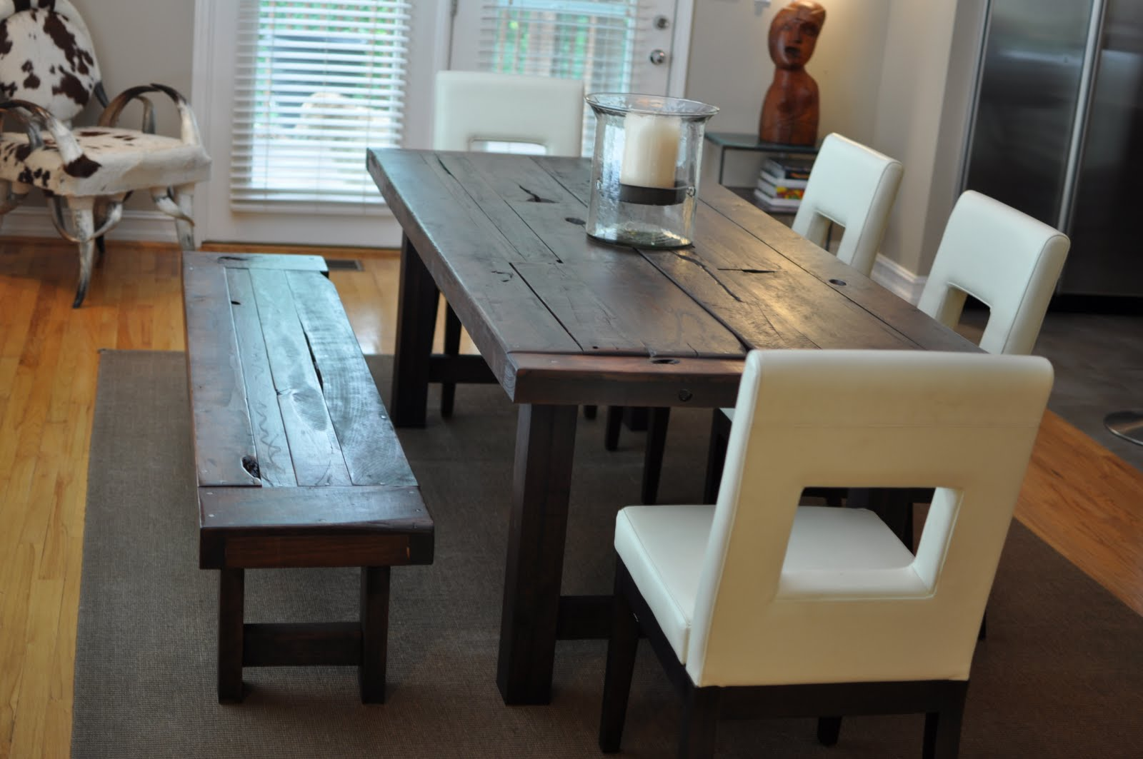 Dark Coated Wooden Dining Table Idea In Rustic Style Designed By Emmerson A