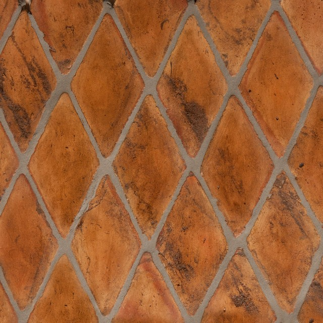 Natural terracotta floor tiles