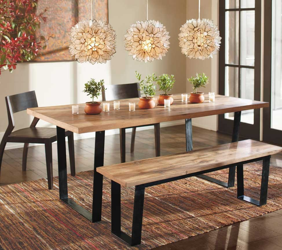 Dining Room Table Seating With Chairs And Bench Triple Pretty Chandelier