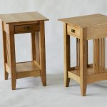 Double Rustic Design Of Bedside Table Height With Drawers