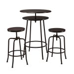 Double Surface Of Round Industrial Pub Table With The Same Chair Design