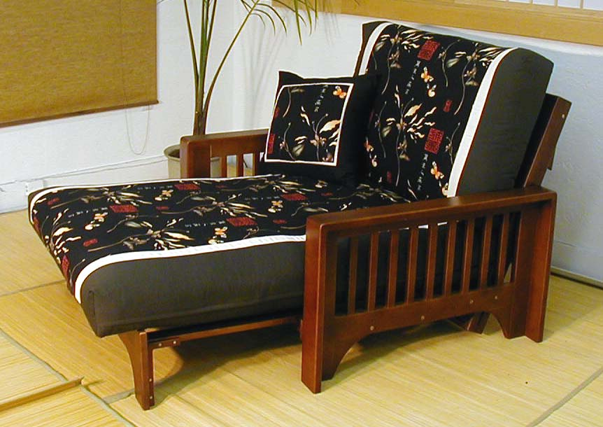Double Black Futon Chair With Slipcover
