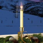 Electric Candle Lights For Windows With Christmas Decoration