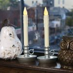 Electric Double Candle Lights For Windows With Grey Bases