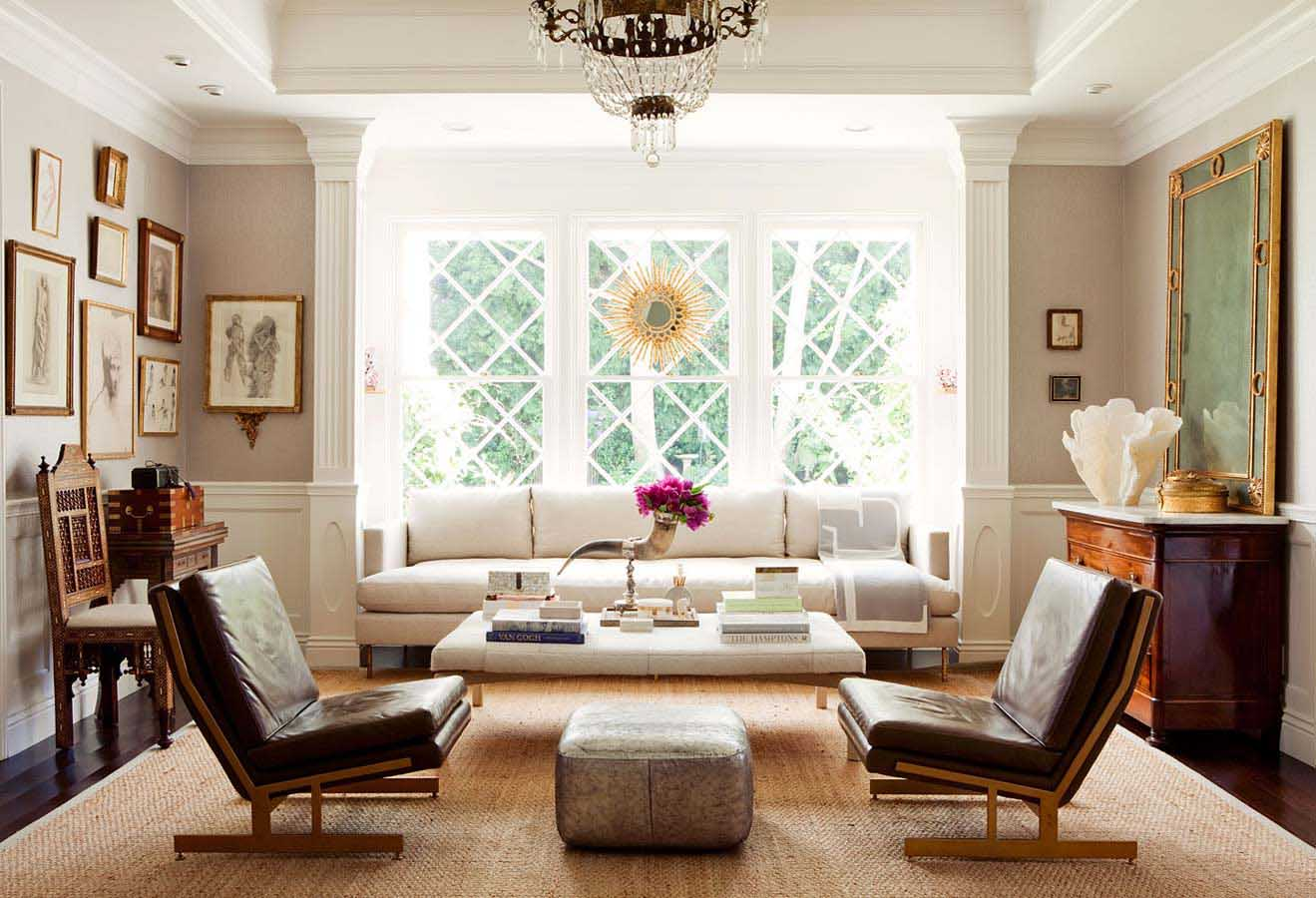 Elegant White Living Room Furniture Arrangement