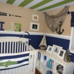 Fascinating Nautical Bedroom Furniture Nautical Themed For Baby With Bold Two Tone Wall Painting Ideas And Modern White Crib Pic