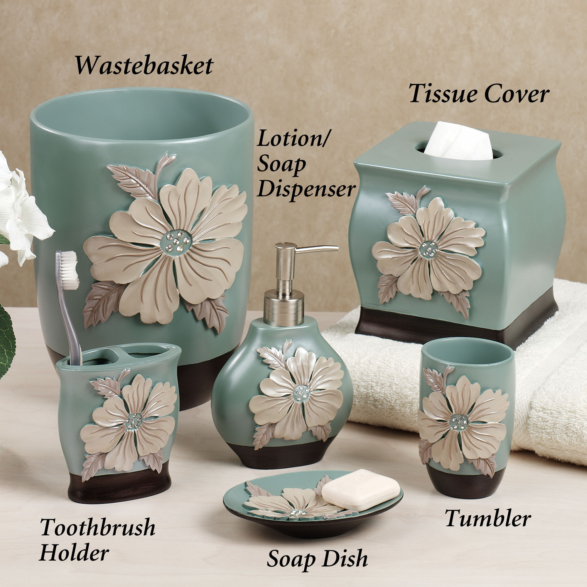 floral blue bath accessories sets - Bathroom Accessories Color Ideas