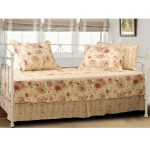 Floral Pretty Day Bed Covers Design With Pillows And Shades On Windows