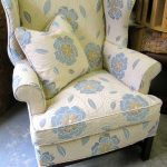 Floral White And Blue Pattern For Wingback Chair Upholstered
