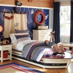 Funky Nautical Themed For Kids Bedroom With Black Curtain And Small Table